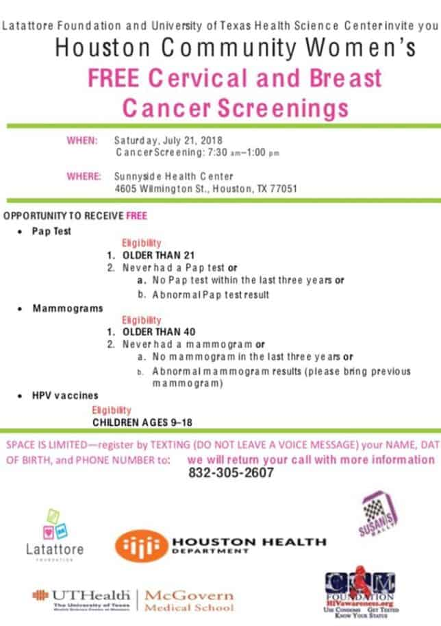 free breast cancer screening houston
